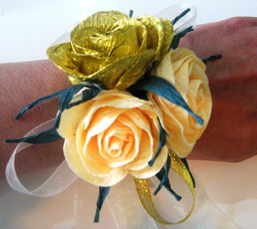 2 Ivory And Gold Rose Corsage Crepe Paper Mothers Corsage Ivory Gold