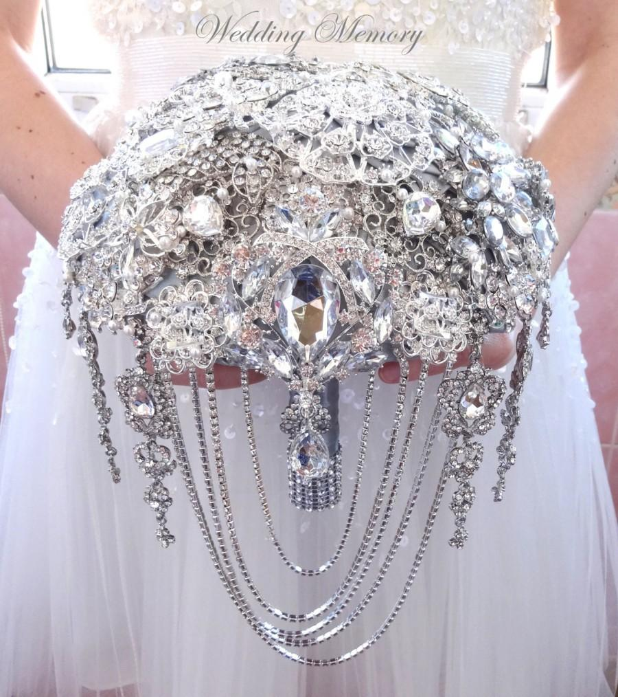 Wedding - BROOCH BOUQUET, silver jeweled in white color with cascading of wedding jewelery for bride.