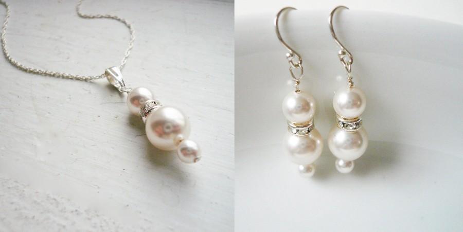 زفاف - FREE SHIPPING U.S. ADDRESS, Swarovski Pearl Jewelry Set