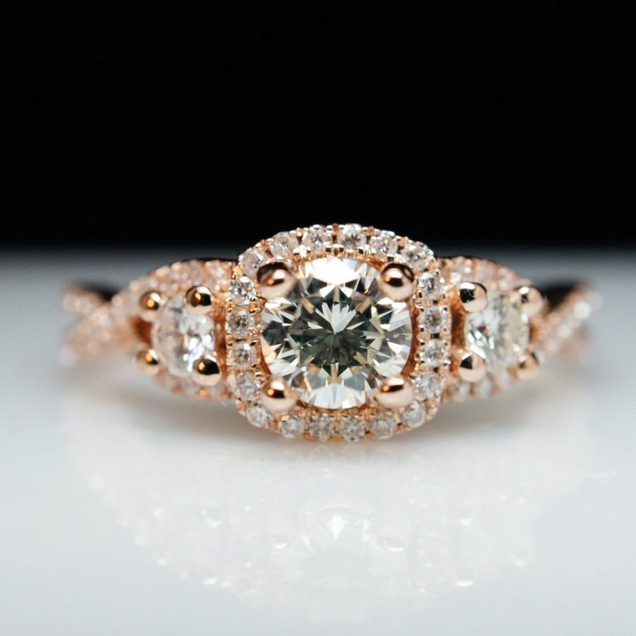 Three Stone Diamond Halo Rose Gold Engagement Ring Amp Wedding Band Set Micropave Ring Unique