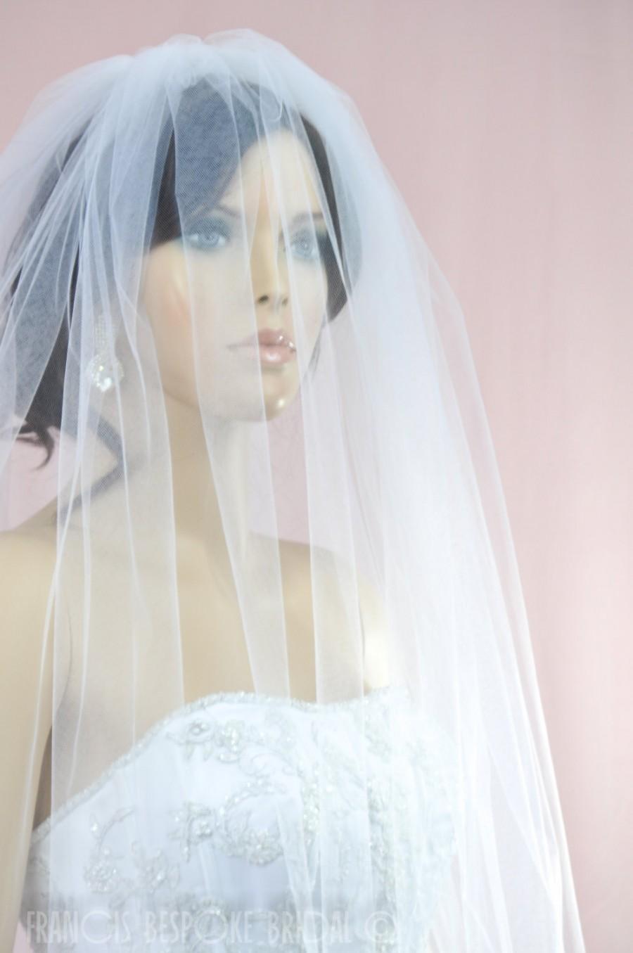 Wedding veil 3 tiers blusher raw cut bridal illusion for Veil for champagne wedding dress