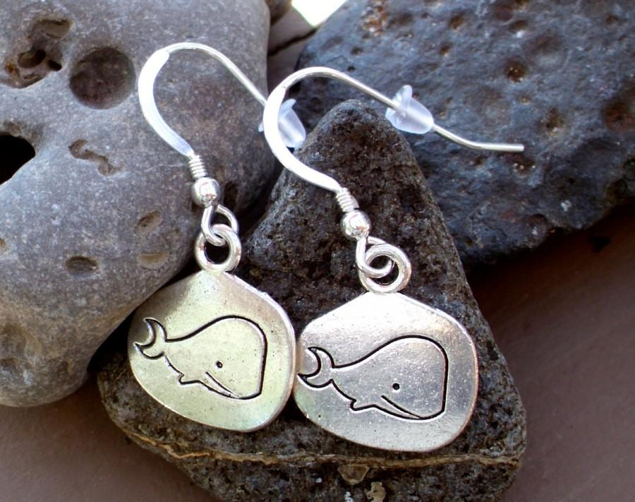 Mariage - SALE - Whale Earrings - Little Whale Charm Dangle Earrings in Silver - Nautical Jewelry - Bridesmaids