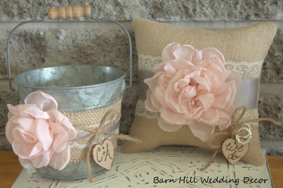 Flower Girl Bucket Basket Ring Bearer Pillow Set Pink Gray Lace ...