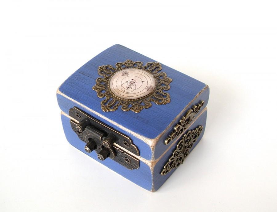 Mariage - Engagement Ring Box - Astronomy Ring Bearer Box - Galaxy - Sun - Moon - Stars - Something Blue