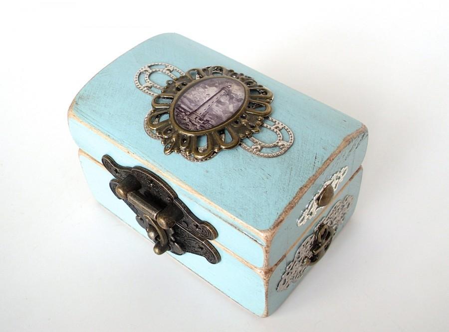 Mariage - Lighthouse Engagement Ring Box - Ring Bearer Box - Nautical Wedding - Something Blue