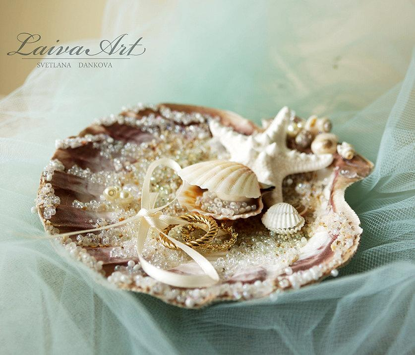 Seashell Wedding Ring Bearer Pillow Ring Holder Beach Wedding Ring