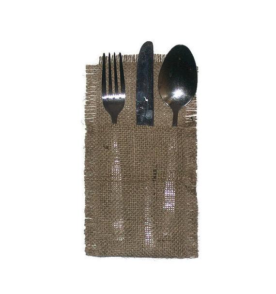 Wedding - Rustic burlap Cutlery holders, Rustic wedding table cutlery, burlap cutlery holders, burlap silverware pocket, burlap cutlery,