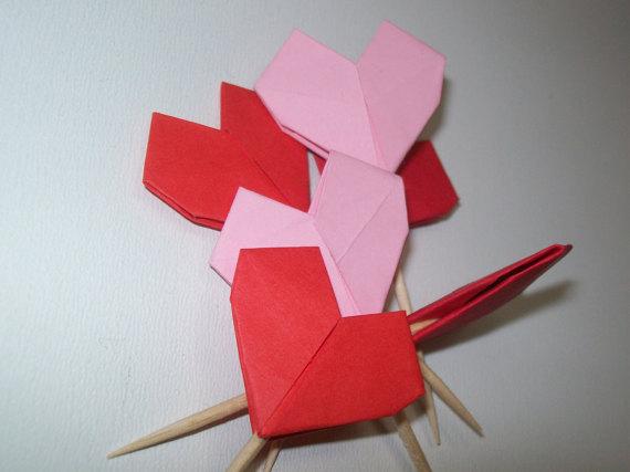 Wedding Origami Heart Cupcake Topper Set Of 50 Heart Cupcake Topper