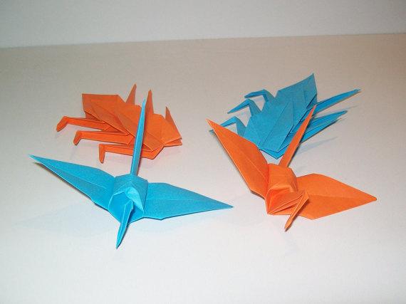 Wedding - Wedding origami crane, Set of 100 wedding crane, wedding decor origami crane, blue crane, orange crane, origami crane, decoration crane