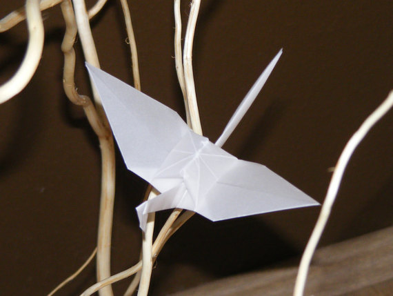 Wedding - Origami wedding crane, set of 100 origami crane, tracing paper crane, wedding origami, wedding crane, wedding decor crane, tracing paper