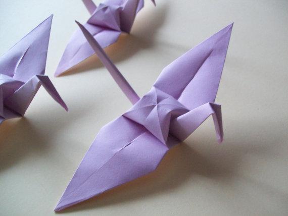 Свадьба - Origami Paper Wedding Crane Light Purple,Set of 100 Wedding Crane,Origami Crane,Light Purple Crane, Wedding Decoration Crane,Origami wedding