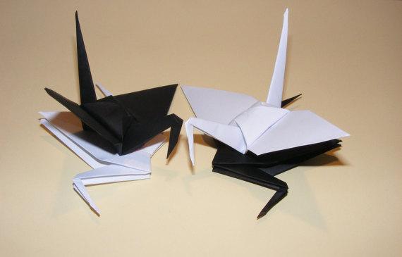 Origami Wedding Crane Paper Set Of 100 Black White Decoration