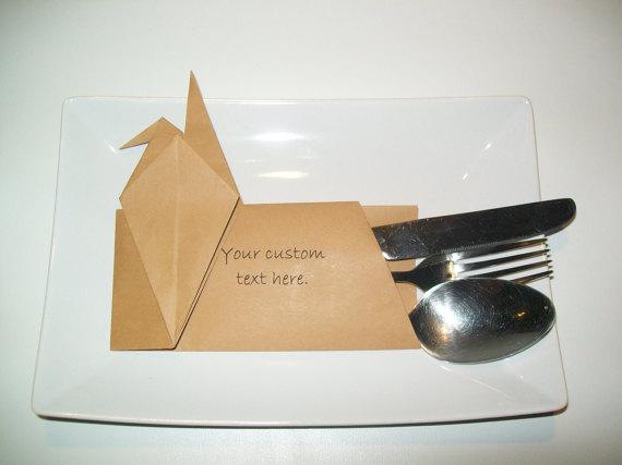 Wedding - Origami Cutlery holder with custom text, Set of 100 wedding table cutlery, cutlery holders, origami silverware pocket, origami table decor,