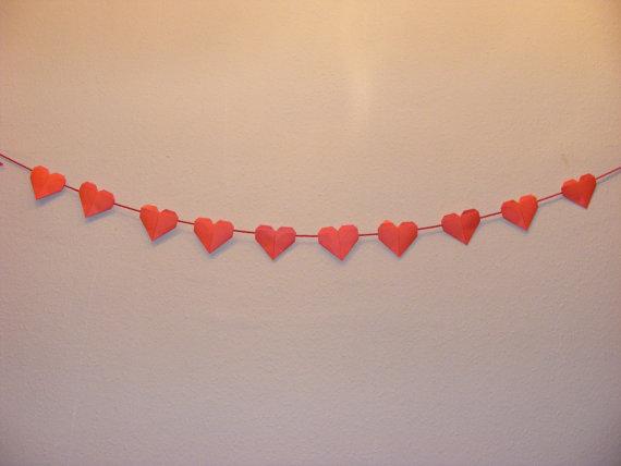 Wedding - Origami Heart Garland for Valentine Days,Wedding,Engagement,Heart garland, ombre garland, Origami wedding,Origami Valentine day