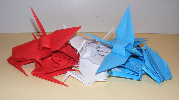 Свадьба - Origami paper crane, Patriot crane, origami crane, Red-White-Blue paper crane, Set of 300 origami crane