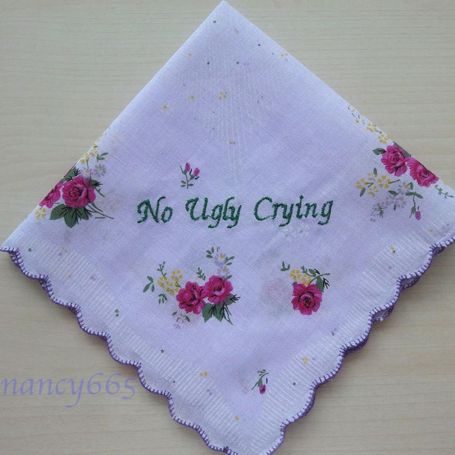 No Ugly Crying Handkerchief Mother Of The Bride Gift Bridesmaid Personalized Wedding Hanky Pretty Purple Fl Hankie