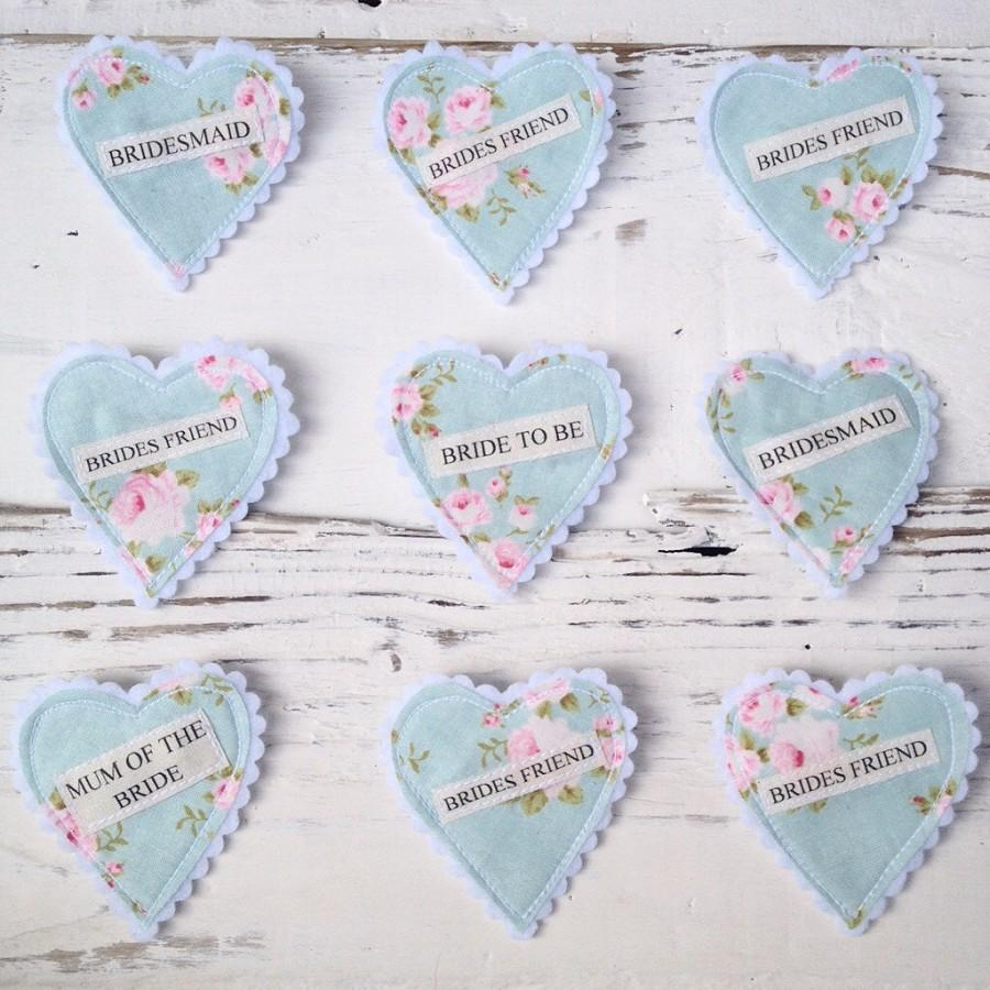Hochzeit - Set of 10 Fabric Heart Badges - Suitable for hen party's, birthday parties, baby showers etc.