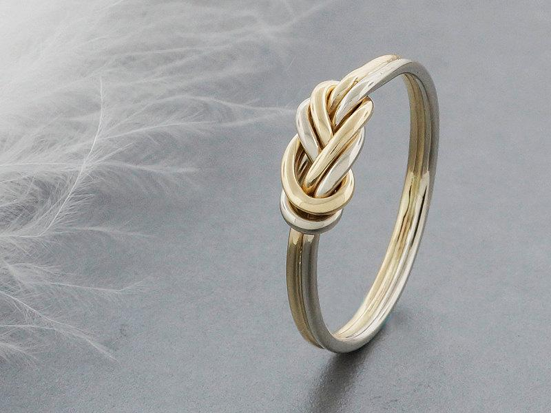 زفاف - alternative engagement ring, 14k solid gold climbing knot ring, tied and dressed double figure 8 knot