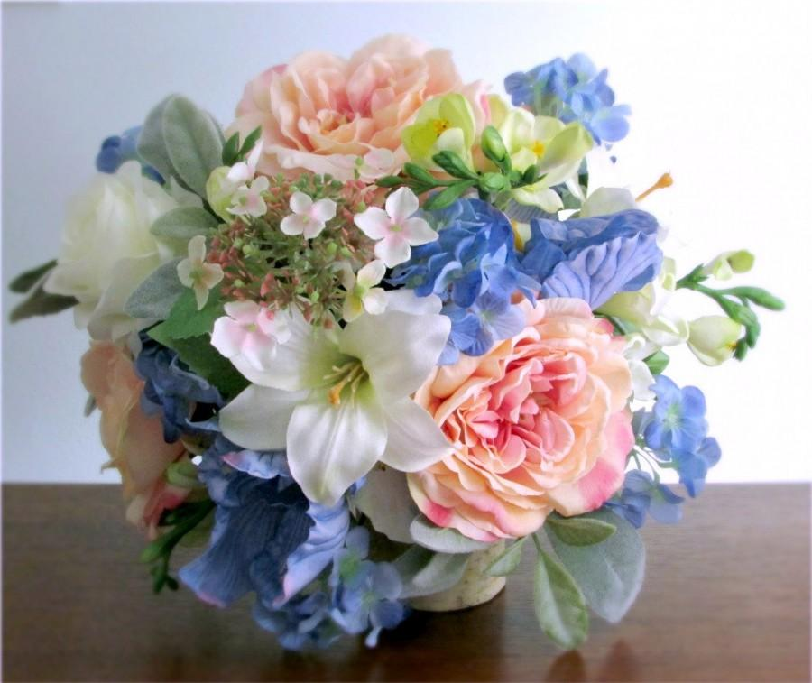"Mariage - Silk Bridal Bouquet, Blush Pink, Light Blue, Green, and Ivory, Wedding Flowers, Roses, Lilies, Irises, Hydrangea, Freesia, ""Abundance"""