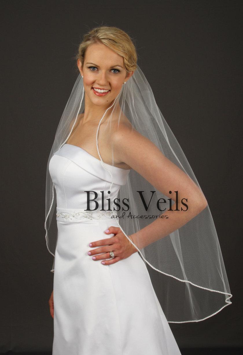 Wedding - Pearl Edge Wedding Veil, Fingertip Length Bridal Veil, 1 Layer Veil