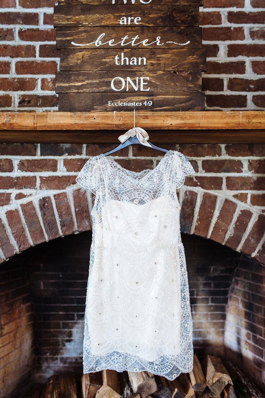 Mariage - Art Deco Beaded Lace Wedding Dress Short Lace Wedding Cocktail Dress Reception Dress Lace Going Away Eco Wedding Silk Backless Cap Sleeve
