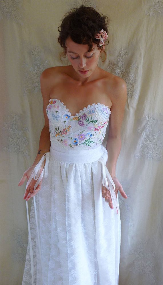RESERVED Meadow Bustier Wedding Gown Whimsical Dress Boho Fairy Romantic Country Woodland Eco Friendly