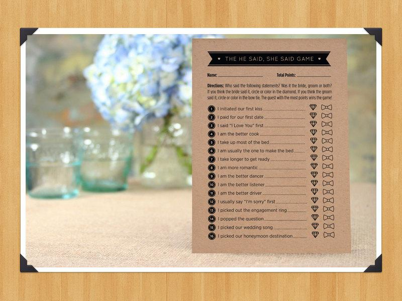 printable he said she said bridal shower game diy instant download printable pdf black and white