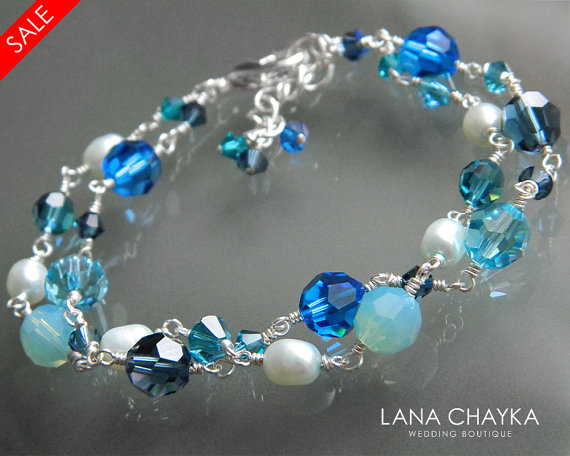 Wedding - ON SALE Blue Teal Light Green Turquoise Crystal Silver Bracelet Swarovski Crystal Silver Bracelet Beach Wedding Crystal Pearl Bracelets