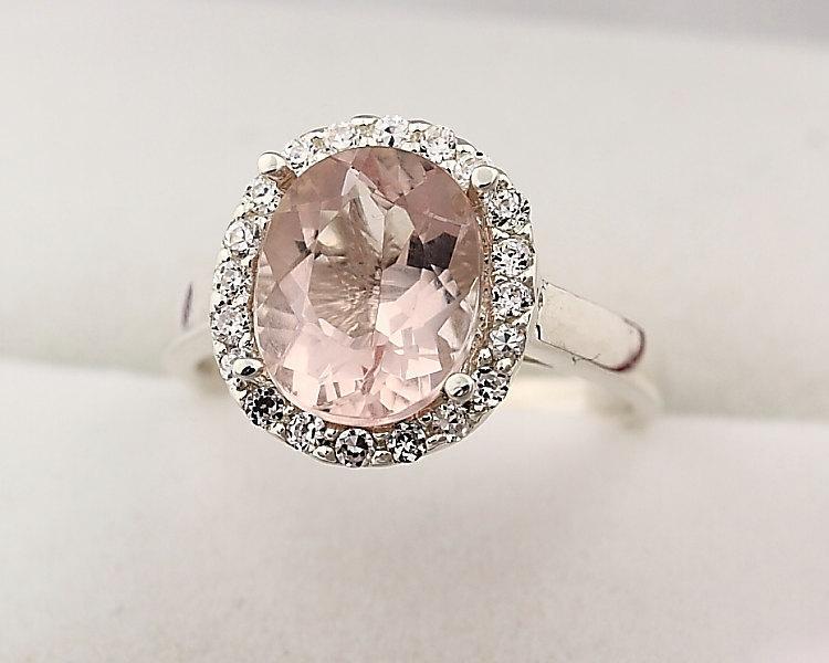 زفاف - Natural  Oval 10x8mm Morganite  Solid 14K White Gold Diamond Engagement Halo Ring