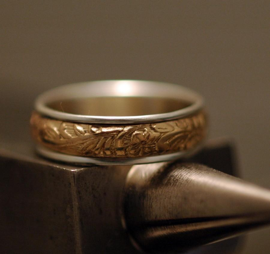 زفاف - Spinner Ring - Floral and Scroll - 14K Gold Filled and Sterling Silver - Made to Order in Your Size