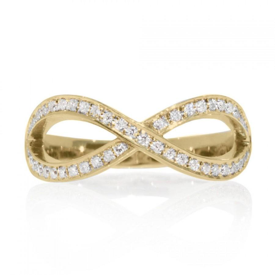 Diamond Wedding Ring Infinity Gold 03 CT Band Knot Womens Bands Unique Rings