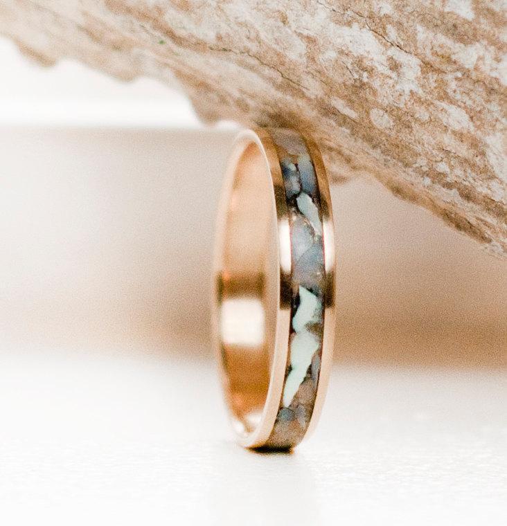 زفاف - Womens Wedding Band Mother of Pearl & 10K Gold Stacking Ring