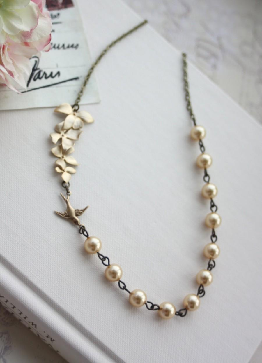 Gold Orchid And Swallow Bird Necklace Orchid, Yellow Gold Pearls Necklace  Bridesmaid Gift Gold Wedding Jewelry Ivory Pearl & Gold Orchid
