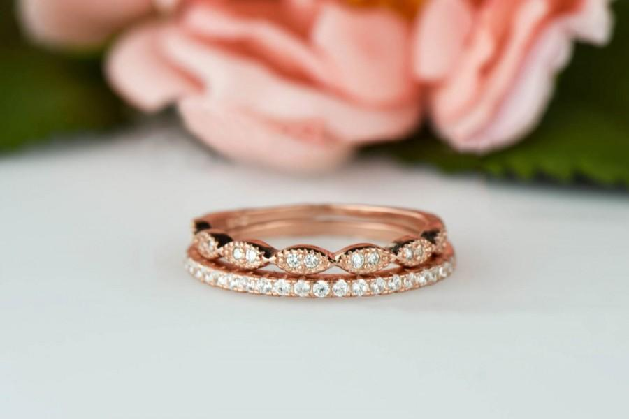 Wedding - Art Deco Wedding Band and Half Eternity Band, Delicate 1.5mm Engagement Ring, Man Made Diamond Simulants, Sterling Silver, Rose Gold Plated