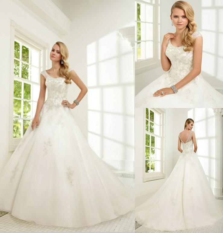 2016 designer new applique luxury beaded a line tulle for Backless wedding dresses online