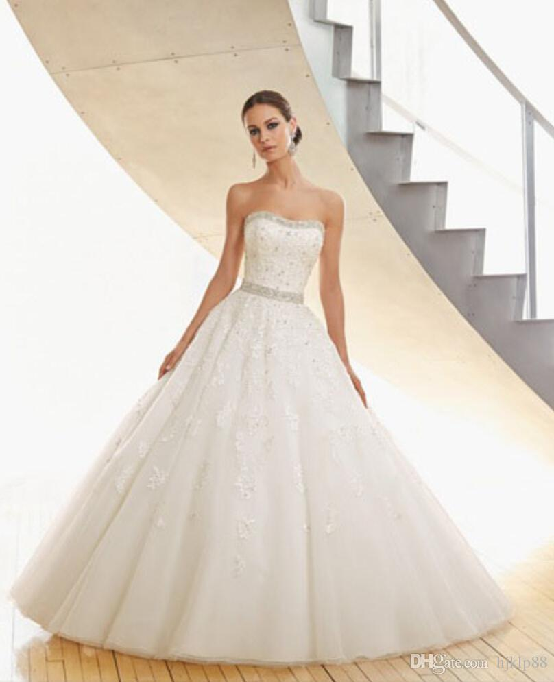 Wedding - 2016 New Strapless Wedding Dresses Beaded Sash Applique Tulle Bridal Gowns Beads Wedding Dress Lace Up Online with $119.6/Piece on Hjklp88's Store