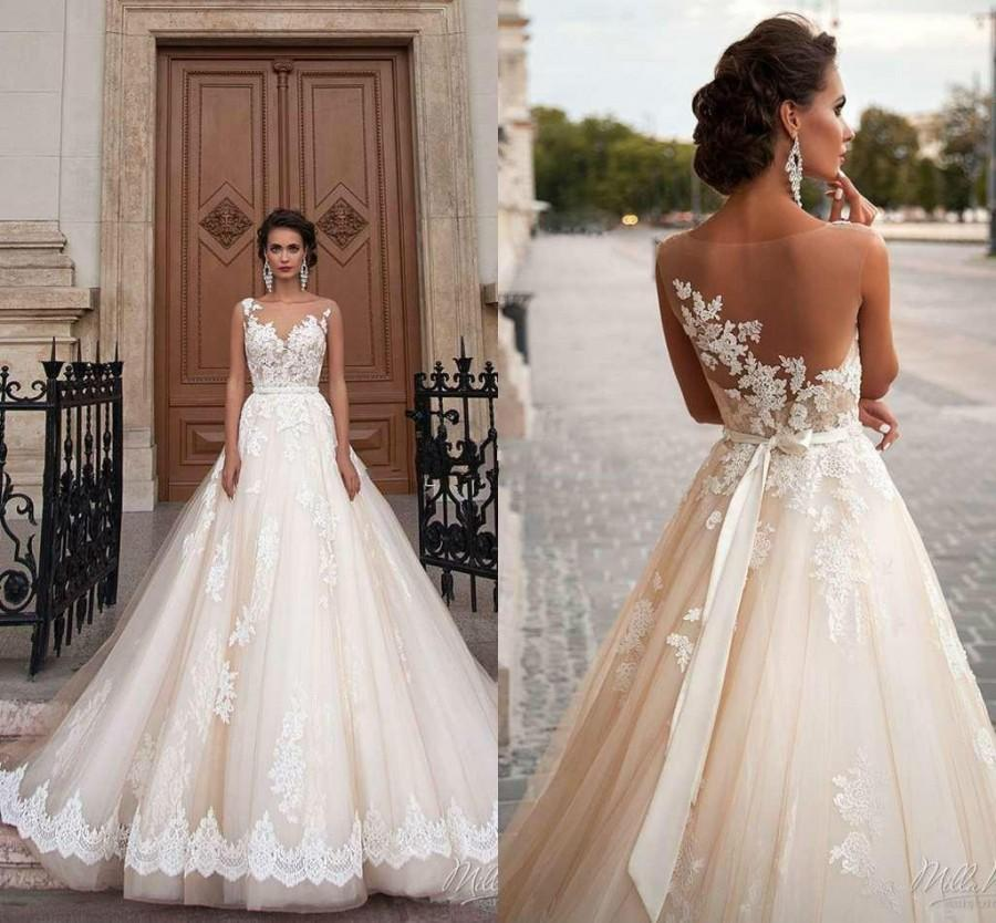 Stunning 2016 Milla Nova Sheer Castle Wedding Dresses Ball Illusion