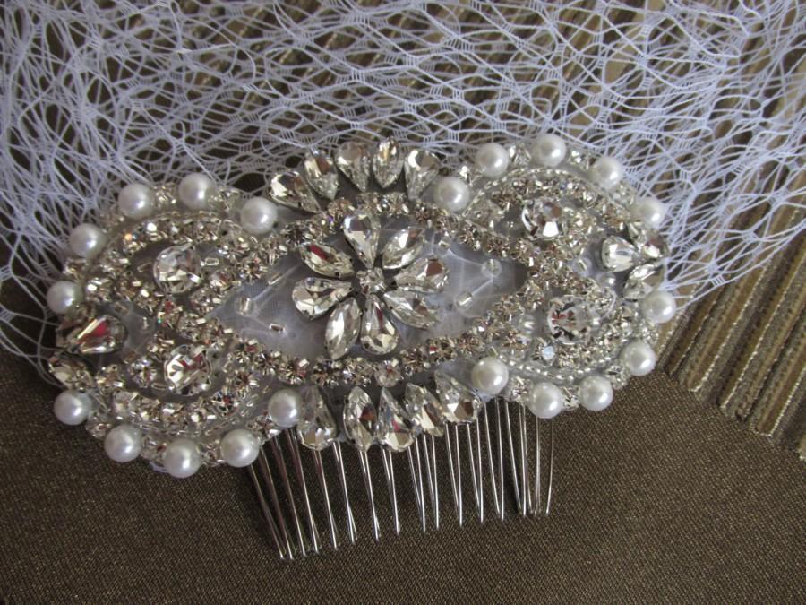 Wedding - Vintage Birdcage Veil and Comb , Bridal Comb ,Crystal Veil ivory birdcage veil ivory pearl veil crystal comb and ivory veil champagne veil