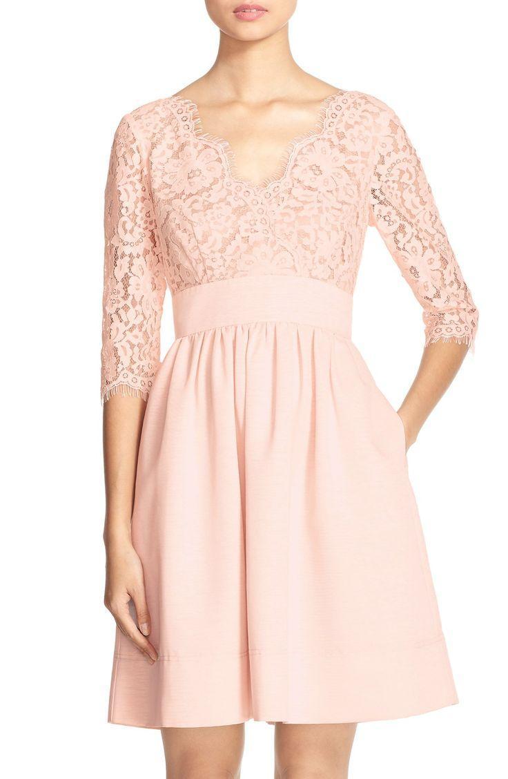 Свадьба - Eliza J Lace & Faille Dress (Regular & Petite)