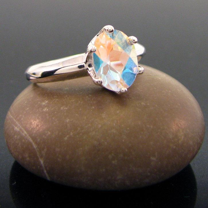 Hochzeit - Mystic topaz ring, rainbow topaz ring - size 7 - mystic ring - white topaz - topaz ring 9x7 mm, buy one get one free, free earrings