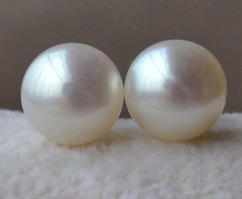 Pearl Earrings Aaa 8 5 9mm White Freshwater Stud Real Ear Rings On