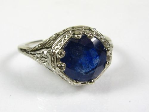 Hochzeit - Sapphire Engagement Ring,Vintage 14K 3 cts Blue Sapphire Ring Engagement,Anniversary White Gold, Brooch Bouquet-