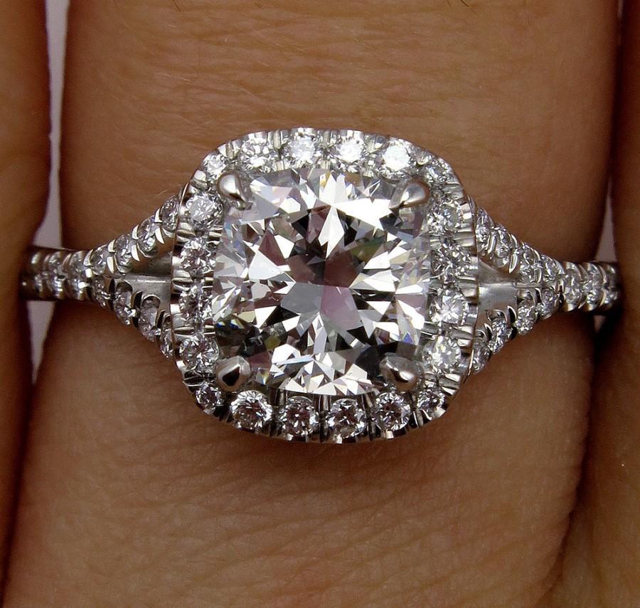زفاف - GIA 1.70ct Estate Vintage Cushion Cut Diamond Solitaire Engagement Wedding Diamond Halo Platinum Ring