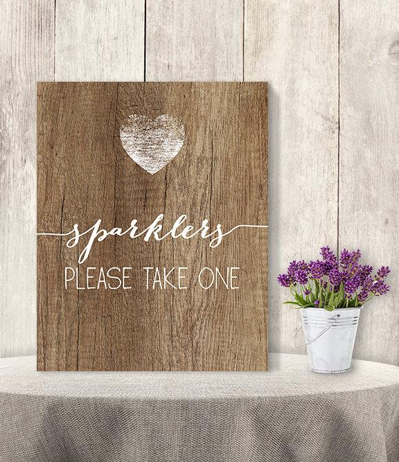 Hochzeit - Sparklers, Please Take One / Summer Wedding Sparkler Sign DIY // Rustic Wood Sign, White Calligraphy Printable PDF Poster ▷ Instant Download