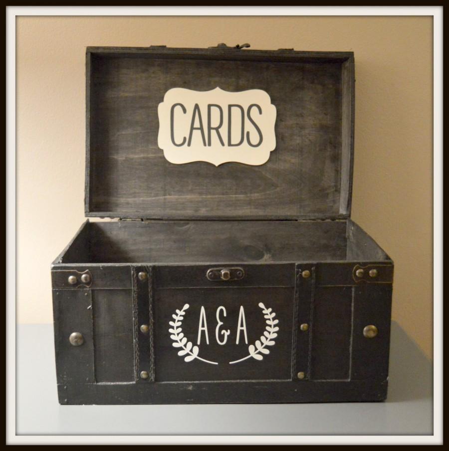 زفاف - Black Vintage Wedding Card Box Holder Trunk - Large, Wedding Gift Card Holder with Monogram Initials - Large