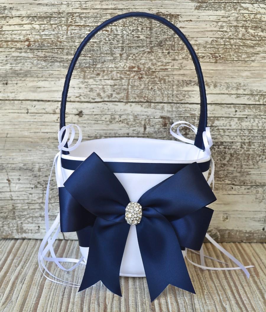 زفاف - Wedding Flower Girl Basket- NAVY BLUE, White / Ivory Wedding Basket,Wedding Flower Girl Basket