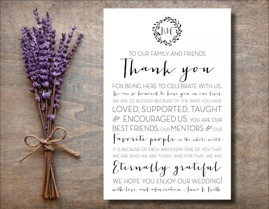 4x6 To Our Family And Friends Thank You Wedding Sign Printable Wreath Place Card Reception