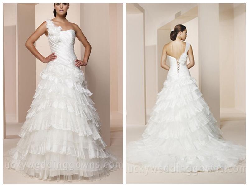 One Shoulder Organza Wedding Dress With Lace Up Back 2507518 Weddbook