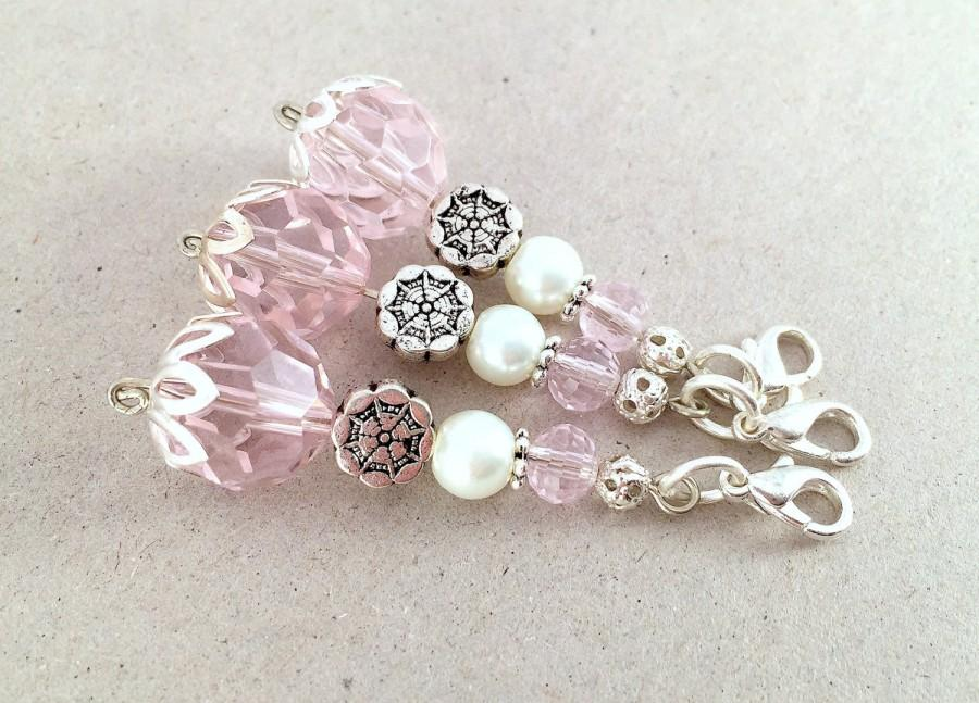 crystal flower girl charm pink wedding favor baby shower party favor pearl and pink crystal keychain silver flower pink bag charm