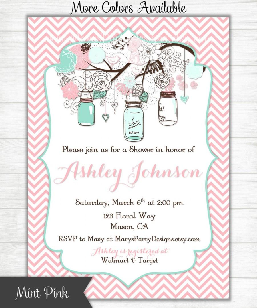 Baby Shower Invitation - Mint Green Pink Chevron Mason Jars ...